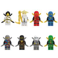 brinquedo jay venda por atacado-Nova Chegada 8 pcs Ninja Spinjitzu Sensei Wu Jay Kai Nya Lloyd Cole Ninja Figura Com Espadas Building Block Toy