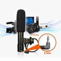 videocámara pentax al por mayor-Videocámara estéreo profesional Micrófono Mini 3.5 mm Entrevista Mic para Panasonic Pentax Canon Nikon Cámara Digital DSLR
