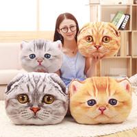 almohadas de gato grande al por mayor-candice guo! lindo juguete de felpa encantador gato simulado ojos grandes gatito cojín de impresión sofá suave almohada cumpleaños regalo de Navidad 1 unid