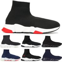Wholesale pink hard toe boots for sale - 2019 New Luxury Designer Speed Trainer Casual Shoes black white red glitter Flat Fashion Socks Boots Sneakers fashion Trainers Runner