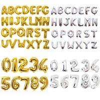 Wholesale alphabet party decorations resale online - 32inch Number Letter Balloons Aluminium Film Gold Silver Alphabet Air Balloons Digital Globos Birthday Party Decoration OOA6829