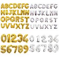 balões de ouro venda por atacado-Número de 32 polegadas Carta Balões de Alumínio Filme de Prata de Ouro Alfabeto Balões de Ar Digital Globos Decoração de Festa de Aniversário OOA6829