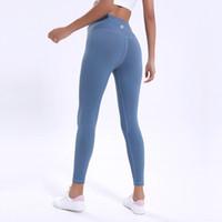 orange yogahose groihandel-LU-68 feste hüfthoch Yogahosen Farbe Damegamaschen Sport-Fitness-Kleidung Damen Fitness Stretch Gesamtstrumpfhosen Sport integrierte Fach