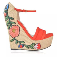 orange blumenschuhe groihandel-Gestickte Wildleder-Espadrille mit Plateausohle Damen Floral Gladiator Sandalen Metallic Verstellbarer Knöchelriemen Pumps Wedges Mary Jane Schuhe