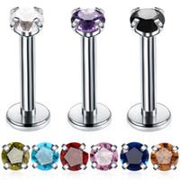 Wholesale tragus jewelry studs resale online - 1Pc Steel Crystal Labret Lip Stud Piercing Ear Cartilage Lip Stud Earrings Piercing Ombligo Ear Tragus Body Jewelry