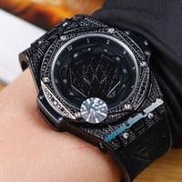 deri dövmeli toptan satış-Üst Düzey Versiyon BANG 415.NX.1112.VR.1704.MXM17 Dövme Geometrik desen Kadran Japonya Miyota Otomatik Erkek İzle Deri Spor Saatleri