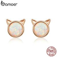 büyük şirin moda küpeler toptan satış-Sevimli Kedi Kulakları Büyük Taş Küçük Saplama Küpe Kadınlar için 925 Ayar Gümüş Moda Küpe Takı Yıldönümü Nişan Düğün Hediyesi