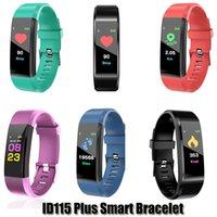 cellphone wristband 도매-상자와 애플 안드로이드 핸드폰의 경우 ID115 플러스 스마트 팔찌 피트니스 추적기 스마트 보수계 시계 심장 박동 시계 밴드 스마트 팔찌