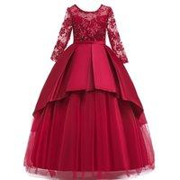 akşam uzun çocuklar giydir toptan satış-Prenses Elbise Çocuk Kız Akşam Parti uzun Hollow kollu Elbise Çocuklar Kızlar Için Elbiseler Kostüm Çiçek Kız Gelinlik