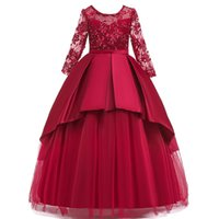 Wholesale long full tutu for girls resale online - Princess Dress Children Girls Evening Party long Hollow sleeve Dress Kids Dresses For Girls Costume Flower Girls Wedding Dress