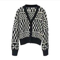 ingrosso giacca di autunno della corea-Inverno Cardigan autunno delle donne confortevole cotone maglione Corea del nero con scollo a V pigro elegante giacca corta allentato INS