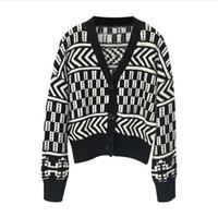 suéter de punto de algodón negro al por mayor-Invierno de punto de Cardigan Mujeres Otoño cómodo del suéter del algodón de Corea Negro cuello en V Lazy elegante chaqueta corta floja INS
