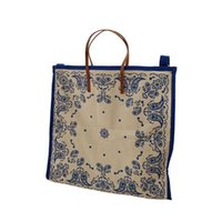 Wholesale Women Canvas Retro Floral Printed Totes Blue Black Lady Large Capacity Shopping Bag