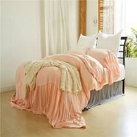 königin rosa tröster abdeckung großhandel-Twin-Queen-Bett-Set mit King-Size-Bett, gewaschene Meerjungfrauen, rosafarbenes Bettwäsche-Set 3-tlg