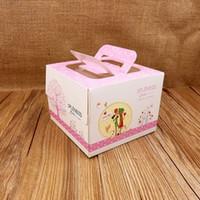 ingrosso nuove scatole di torta nuziale-FeiLuan store nuova torta di moda scatola 50 pz 13.5x13.5x10.2 cm dolce rosa fragola torta festa di compleanno per fidanzamento di nozze