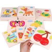 jouets de fille en bois achat en gros de-Jigsaw puzzle en bois bébé blocs de construction 3d en trois dimensions jouet garçons et filles main scratch conseil imposition V027