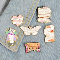 filles de clavier achat en gros de-Artisanat Fille Bannière Émail Pin Badge Clavier Papillon Broche Sac Denim Chemise Épinglette Romantique Fleur Bijoux Cadeau