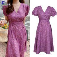 Wholesale korean wedding dress line for sale - Group buy Floral Vintage Dresses Fashion Woman V Neck Korean Date Wedding Party A Line Bow Tie Slim Waist Purple Dress Long