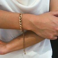 moda boho para hombres al por mayor-Cadena ajustable Chunky pulseras del encanto de la borla de la pulsera retro simple Enlace brazaletes de Boho del punk joyas de moda para los hombres de las mujeres