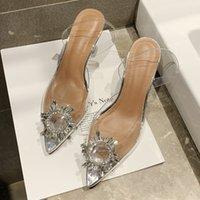 прозрачные вечерние платья оптовых-34-40 2019 Летние Женщины Элегантные Насосы Небо Высокие Каблуки Bling Crystal Shoes Женщина Sexy Ladies Party Club Dress Прозрачные Тапочки
