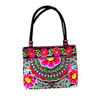 canvas embroidery оптовых-Women Handbag Canvas Vintage Ethnic Floral Embroidery Wood  Double Layered Zipper Shoulder Bag Random Color