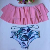 roupa de banho rosa tankini mulheres venda por atacado-2019 Summer Beach Duas Peças Mulheres Swimsuit tankini Push Up Swimwear Sexy Imprimir Terno Separado Brasil Set Bathing Rosa Azul