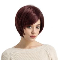 Wholesale wine red short hair for sale - Group buy Wine Red And Oblique Fringe Exquisite European And American Ladies Short Straight Look Natural Touch Soft Synthetic Hair Wig