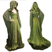 vestidos verdes del bosque al por mayor-Forest Elf Fairy Elven Disfraz Maxi Train Dress Adulto Mujeres Celtic Princess Pagan Witch Vestido de novia con capucha Bata para Lady Green