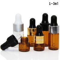 ko großhandel-1 ml 2 ml 3 ml Braunglasflasche mit Aluminiumverschluss und schwarzem Gummiball Brauner Tropfflaschenbehälter mit ätherischem Öl