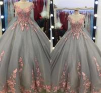 imagens para saias de renda vintage venda por atacado-2019 Real Imagens Quinceanera Rosa Vestidos de Renda Floral Apliques de Tule Cinza Vestidos de Baile Vestidos de Doce 15 Em Camadas Saias vestido de Baile