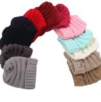 baby beanies schädel groihandel-Freies DHL-INS 15 Farben Baby Kinder Winter keep warme Beaniehüte Wolle stricken Schädel Designer Hut Outdoor-Sport-Caps