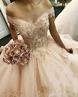 ingrosso vestito da promenade del rhinestone del sequin del organza-Abiti da 16 perline Abiti da ballo con perline Abiti Quinceanera Off The Shoulder Ruffle Tiered Puffy Prom Dresses 2019