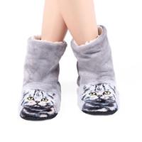 плюшевые плоские туфли для женщин оптовых-Mntrerm  Women Cute 3D Cat Print Slippers Beach Thick warm Winter Slippers Zapatos Mujer Home Indoor Plush Flat With Shoes