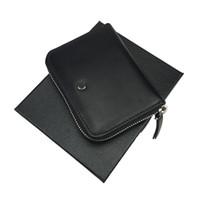 bolsa negra para hombre al por mayor-Nuevo bolso de cuero negro con cremallera para hombre de lujo caliente ranura para múltiples tarjetas ID billetera comercial tarjeta de crédito regalo envío gratis con caja