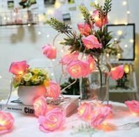 hochzeit auto dekorationen zubehör großhandel-LED Rose Flower Fairy Lichterketten Lampen Valentinstag Weihnachten Liebe Geschenk Hause Hochzeit Bar Auto Inneneinrichtungen GGA1514