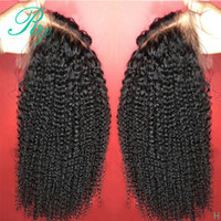 Wholesale blonde human hair half wigs for sale - Group buy Deep middle part Lace Front simuliaton Human Hair Wigs For Women With Black Afro Kinky Curly Glueless synthetic Hair Lace Wigs