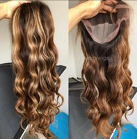 Wholesale brown highlighted hair resale online - Celebrity Lace Front Wig Two Tone Ombre Highlight Loose Wave A Chinese Remy Human Hair Full Lace Wigs for Black Woman Express Shipping