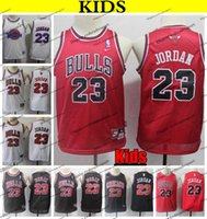 juvenil 23 camisetas rojas de baloncesto al por mayor-2019 niños # 23 ChicagoBulls 23 Camisas Michael Jodan jerseys del baloncesto barato 23 Jóvenes Michael Jodan Red Vintage Home cosido