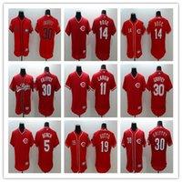 beyzbol formaları kırmızı toptan satış-Yüksek Kaliteli Cincinnati erkek Reds Johnny Tezgah 19 Joey Votto 5 Johnny Tezgah Beyzbol Forması 30 Ken Griffey 11 Barry Larkin Dikişli Jerse