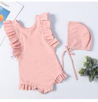 prinzessin bademode großhandel-Kinder mädchen bademode niedlichen badeanzug mit kappe soild farbe prinzessin mädchen badeanzug ein stück beachwear für kinder 2-8 t