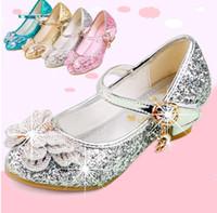 kinder rosa high heels großhandel-Prinzessin Kinder Leder Schuhe Für Mädchen Lässig Glitter Kinder High Heel Mädchen Schuhe Schmetterling Knoten Blau Rosa Silber Glod