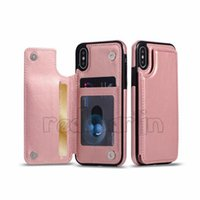 Wholesale brown leather cell phone cases online – custom leather case for samsung S10 S9 S8 for iphone xs xr Xs Max Lite Plus Wallet Case PU Leather Cell Phone with Credit Card Slots