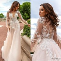 Wholesale silver beads online - Champagne Lace Sheer Wedding Dresses Summer Deep V Neck See Through Back With Button Handmade Flowers Sweep Train Bridal Gowns