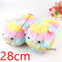 Wholesale cute anime slippers online - Grass Mud Horse Alpacasso Plush Toys Dolls Home House Winter Cute Plush Slippers for Children Women Men Stuffed Toys cm