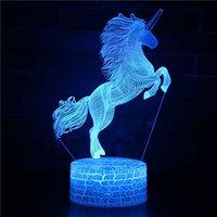 renk değiştiren ruh hali aydınlatması toptan satış-Unicorn Lamba Unicorn 3D Gece Lambası Led Illusion Lambası 7 Renk Değişimi Dokunmatik Mood Çocuk Kız Erkek Doğum Günü için toptan
