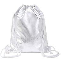 çorap torbaları gümüş toptan satış-Gümüş İpli Sırt Çantası 2019 Yeni Trend Katı Çanta Moda Kadınlar Yönlü Omuz Çantaları Feminina