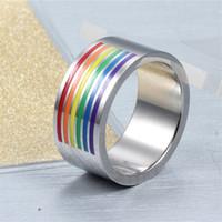 Wholesale titanium steel ring rainbow resale online - Hot Fashion Gay titanium steel six color half circle rainbow Ring and Retail