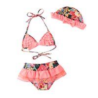 детские купальные костюмы оптовых-Новый Новорожденных девочек купальник летний розовый цветочные купальники + шляпа 3шт комплект младенческой малышей детей Цветочный купальник бикини ребенка