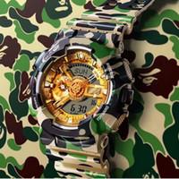 relógios verdes do exército venda por atacado-Relógios G Estilo Choque relógio masculino desportivo de luxo LED Chronograph Disply Waterproof Exército Student militar Camo verde Edição limitada Relógios