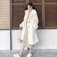 lockiges pad großhandel-Neuer Stil Lammwolle Trenchcoat für Frauen Baumwolle gefütterte Damen Windjacke stilvolle Casaco Feminino lockigen langen Windmantel
